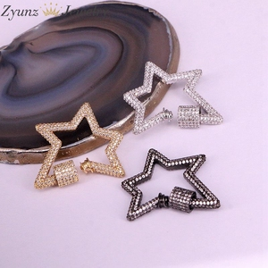 Image 3 - 3PCS, Star Jewelry Clasps Lock Carabiner Micro Pave CZ Copper Connector Clasp For Necklace Jewelry Making