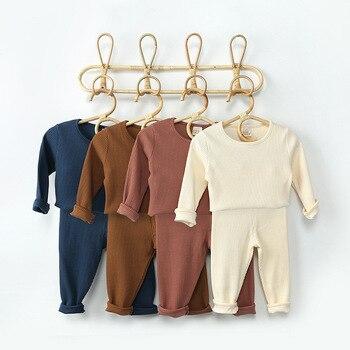 Spring Autumn Fall Winter Boys Girls Kids Cotton Clothing Set Ribbed Shirt + Pants Children Toddler Loungewear