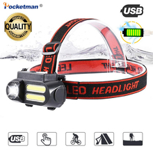 NEW listing 4000LM Portable Mini XPE 2* COB Rechargeable LED Headlight Use 18650 Waterproof Good Quality Headlamp for Climb Run
