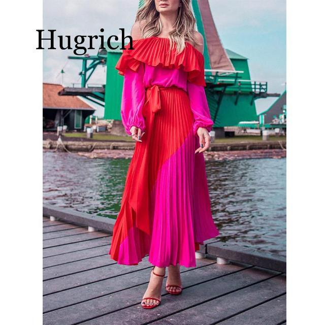 2020 Women Dress Slash Neck Off The Shoulder Dresses Women Plus Size Summer Dresses Bandage Patchwork Pleated Long Dress 1
