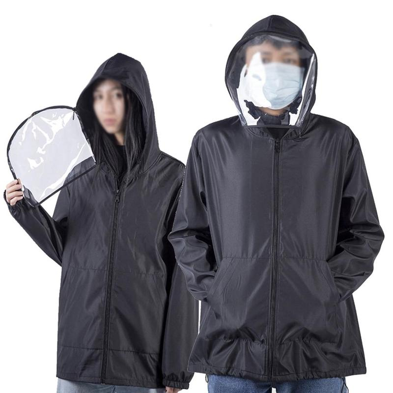 Men Women Zipper Hoodies Tops Long Sleeve Loose Hoodies Coat Oversized With Protective Mask Full Face Anti-fog Hood Dust-proof
