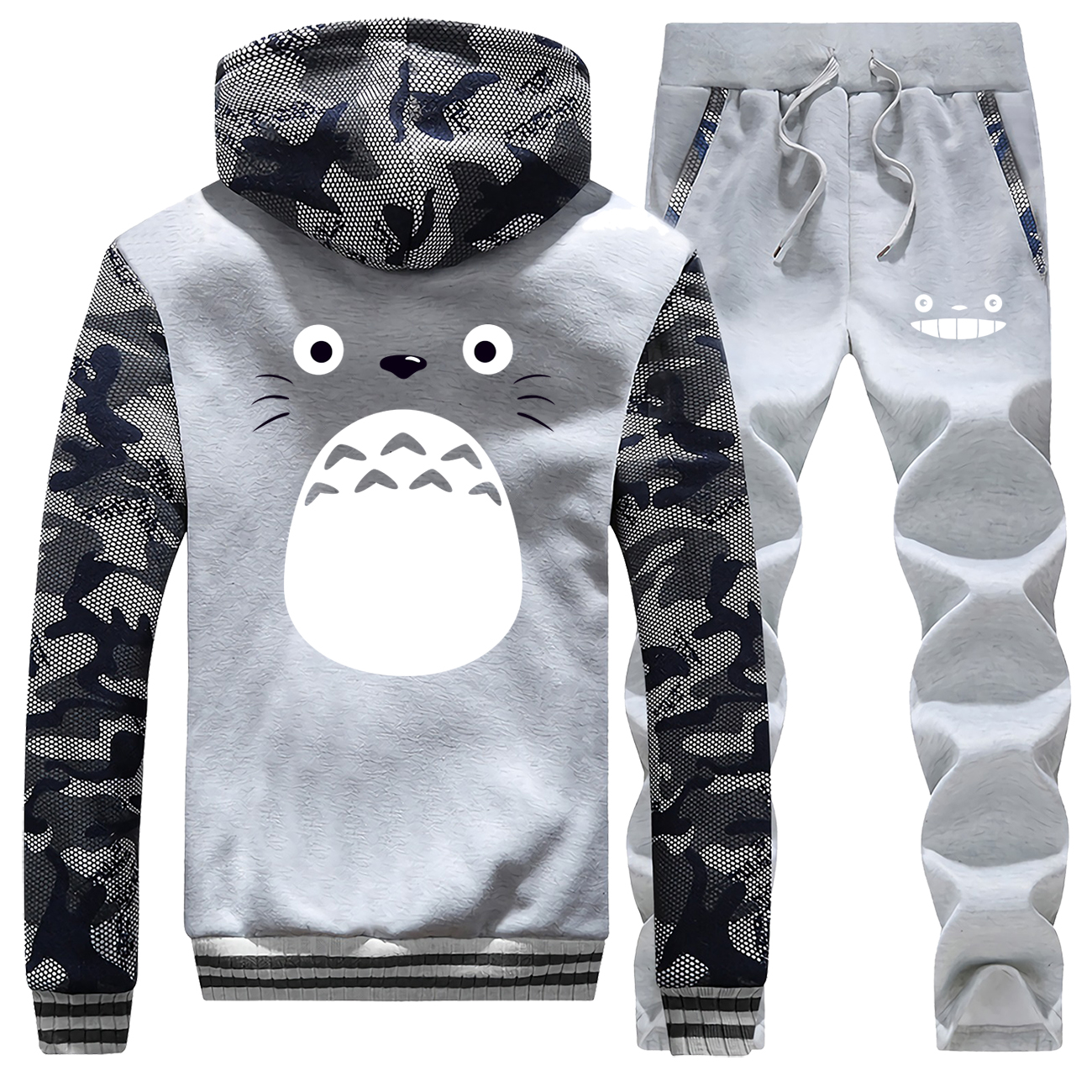 Winter Hot Sale Japan Anime Cute Totoro Men Hoodie Fashion Sportswear Camouflage Coat Thick Suit Warm Jackets+Pants 2 Piece Set