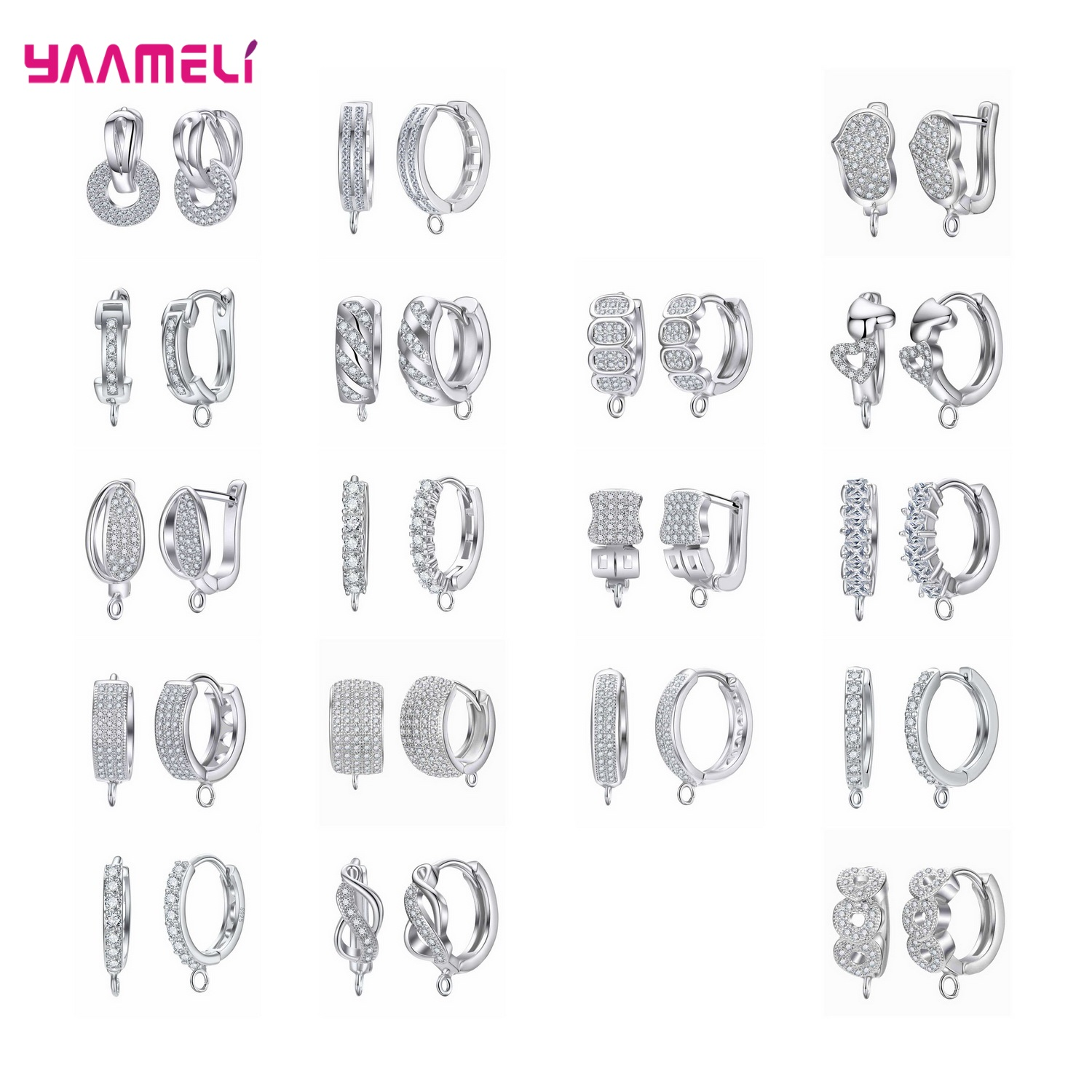 Jewelry Making Components Hoop Earrings 925 Sterling Silver New Fashion Women Round Cubic Zirconia Trendy Statement DIY Brincos