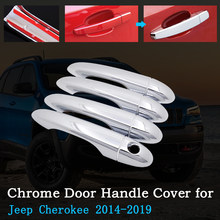 HIGH Flying 8pcs ABS Chrome Side Door Handle with Smart Key Holes Cover Trim Decoration for Jeep Grand Cherokee 2011-2018