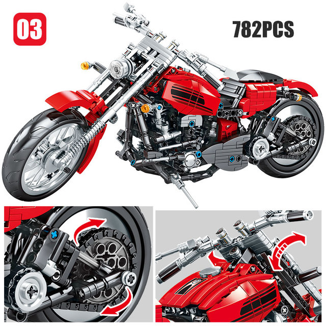 City Technic Motorcycle Building Blocks Compatible  Autocycle Autobike DIY Moto Bricks Educational Toys For Children
