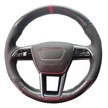 Hand Nähen Auto Lenkrad Abdeckung Wrap Kuh Leder Volant Für Audi A6 (C8) avant Allroad 2018 2019 S7 2019 A7 (K8) 2018 2019