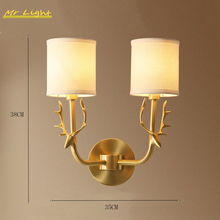 Modern Antlers Copper LED Wall Lights Lighting Nordic Fabric Bedroom Bedside Wall Sconce Light Fixtures Deco Corridor Wall Lamps