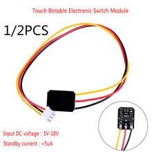 Gorący Mini dotykowy przełącznik DC 3V-18V 12V 2A pojemnościowy dotykowy bistabilny przełącznik elektroniczny moduł LED przekaźnik 5V na szkło akrylowe ceramiczne