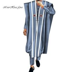 Africain Causale Gewaad en Broek Set shirts 3 Stuks set Katoen Batik Afrikaanse Print Mannen Wedding Party Traditionele Afrikaanse wyn572