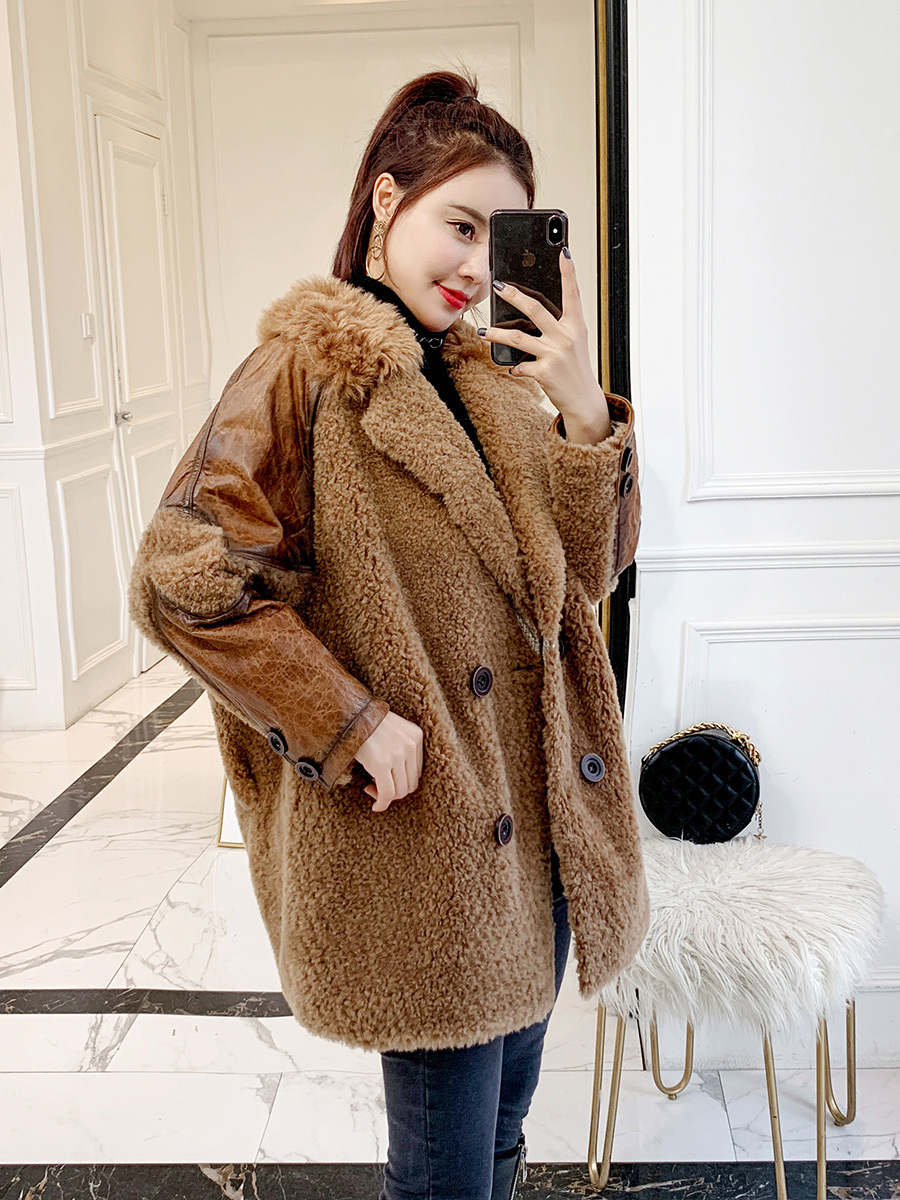 Sheep Real Shearling Fur Coat Winter Coat Women Clothes 2020 Real Wool Coat Female Suede Leather Jacket Manteau Femme MY