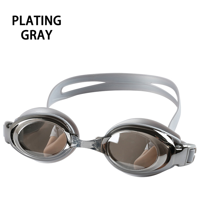 Оптическая близорукость плавательные очки 200-800 градусов Силиконовые противотуманные водная диоптрия плавательные очки для мужчин и женщин очки по рецепту - Цвет: Plating Gray