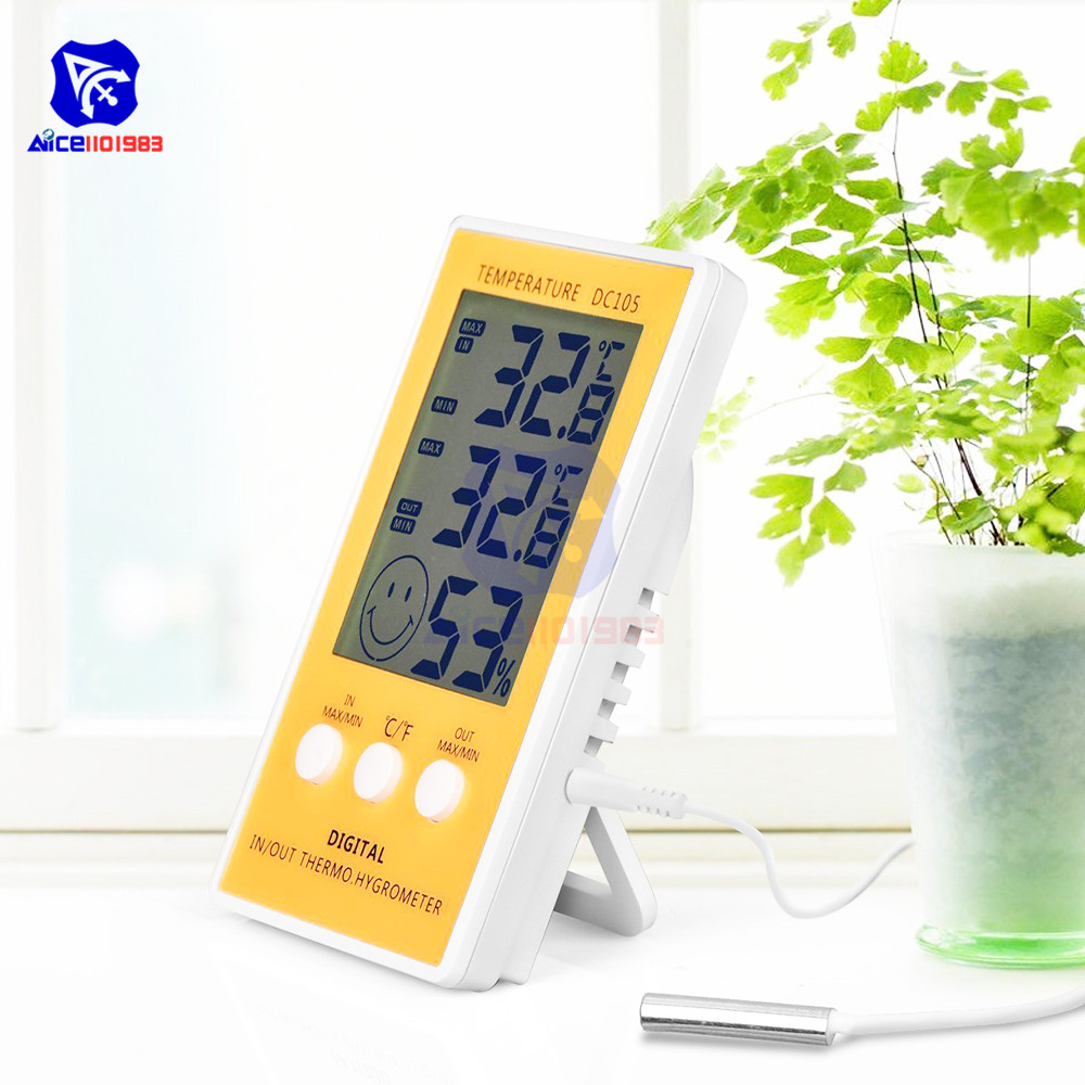 Diymore LCD Digital Hygrometer Thermometer Indoor Outdoor Humidity Temperature Monitor Gauge With Sensor Probe For Home Office