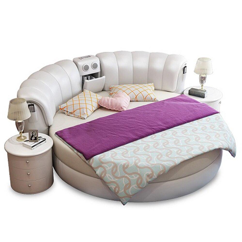 Smart Bed Frame Camas Bedroom Set Furniture кровать двуспальная Lit Beds Round Massage  Genuine Leather Bed  + 2 Night Stands