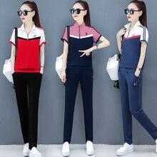 цены two pieces set High quality women Short Sleeve  Suit Woman Summer Short 2020 New Pattern Korean Nine Part Pants Fashion suit
