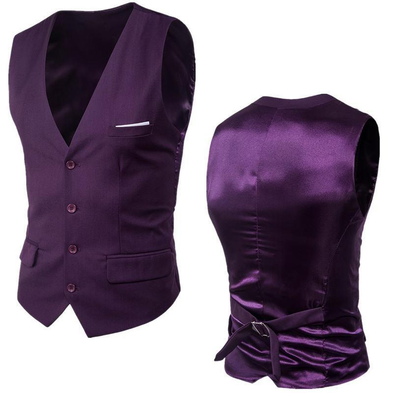 Purple Suit Vest Men 2020 Spring New Slim Fit Sleeveless Vest Waistcoat Mens Formal Business Wedding Dress Vests Chaleco Hombre