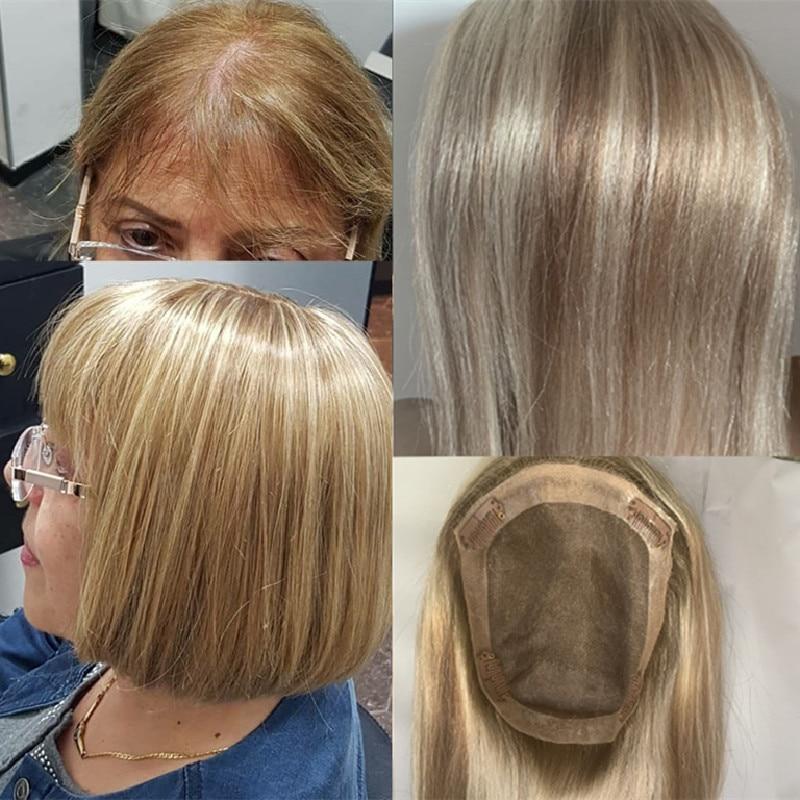 Хайлайтер блонд прямые 20 дюймов 150% плотность Remy человеческие волосы дышащий моно с клипсой парик женский парик