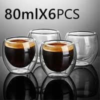 Taza de café expreso Sencilla y resistente al calor, vaso de vino y cerveza de doble pared, juego de té, vasos de té de 80-450ml