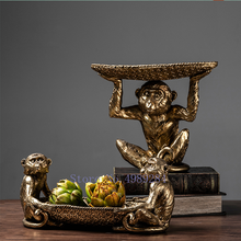 Creative Resin Golden Monkey Tray Desktop Storage Organization Modern Home Decoration Accessories Fruit Dish Shelf Furnishings(China)