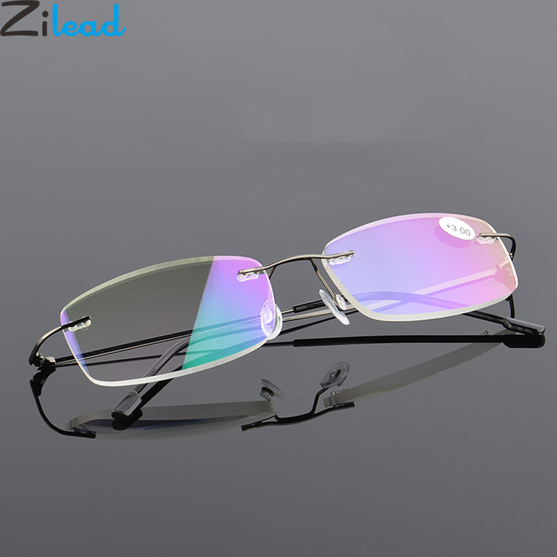 Zilead Ultralight Alloy Frameless Reading Glasses Anti Blue Light Business Prebyopia Spectacles Hyperopia Eyeglasses Eyewear