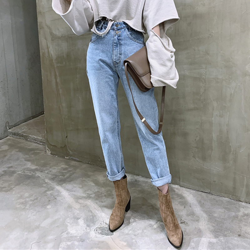 BGTEEVER Vintage High Waist Straight Jeans Pant for Women Streetwear Loose Female Denim Jeans Buttons Zipper Ladies Jeans 2020 Women Women's Clothings Women's Jeans cb5feb1b7314637725a2e7: Light blue