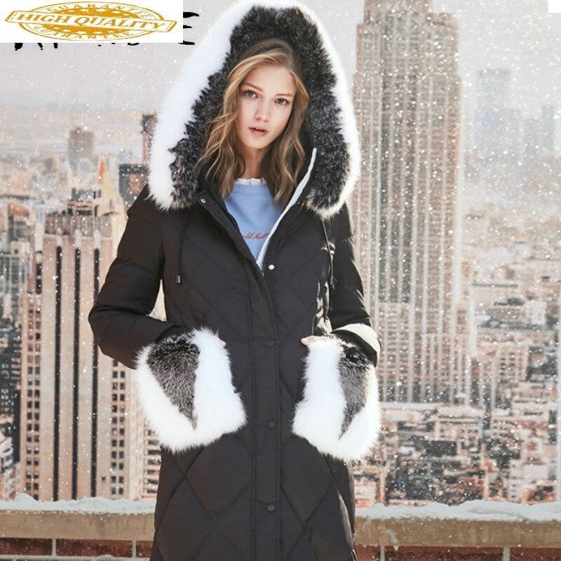 Winter Coat Women White Duck Down Jacket Fox Fur Collar Long Puffer Jacket Women 2019 Korean Warm Parka 1183125681 YY1628