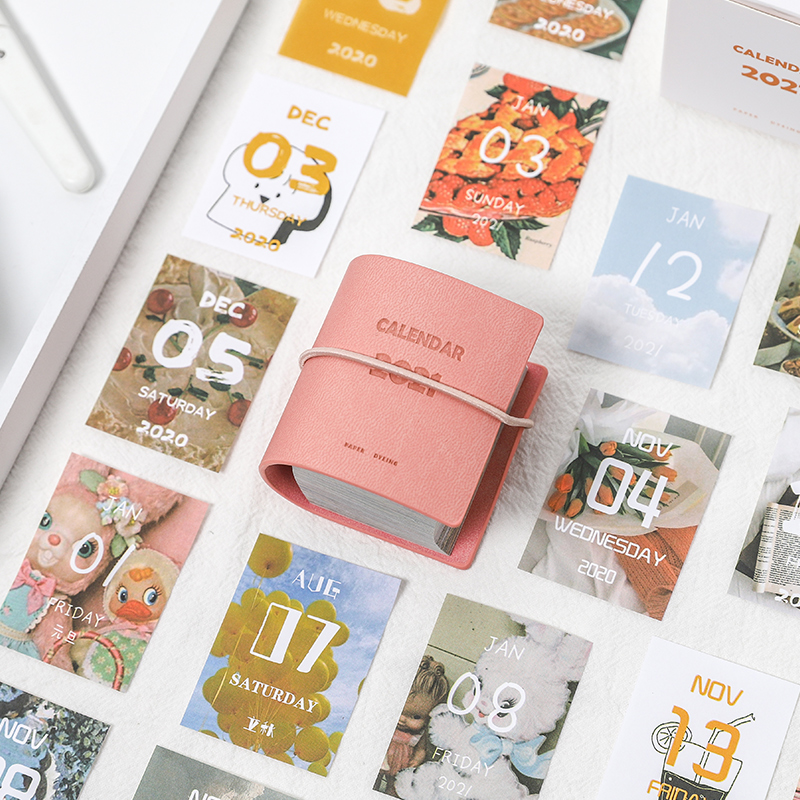 Yoofun 457sheets 2021 Calendar Cute PU Cover Mini Calendar for Scrapbooking Bullet Journaling DIY Office School Supplies 2
