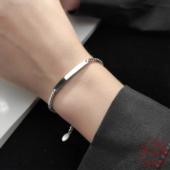 Vintage 925 Silver Bracelet High Quality Geometric Bracelet Bangle Wedding Anniversity Gift image