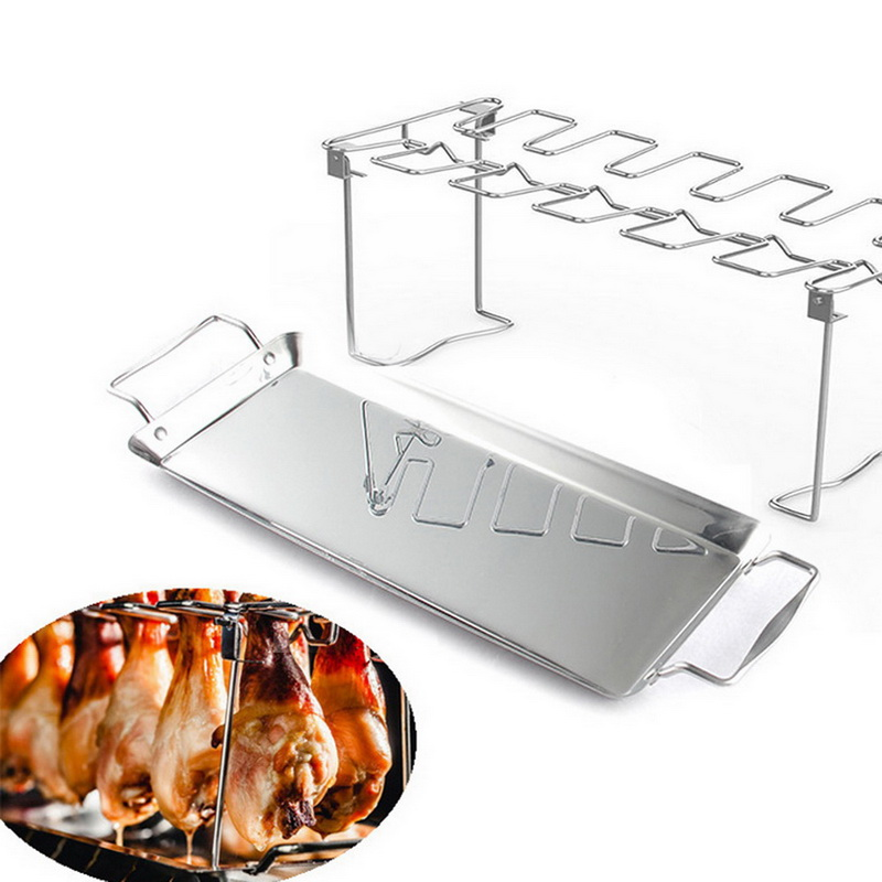 Stainless Steel Chicken Wing Leg Non-Stick Rack Oven BBQ Grill Holder with Tray BBQ Rib Poultry Beef Barbecue Roasting Tools image