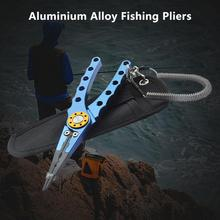 Aluminum Alloy Fishing Pliers Split Ring Cutter Fishing Holder Tackle with Sheath&Retractable Tether Combo Hook Remover 8 fishing pliers aluminum saltwater split ring stainless steel terminal tackle