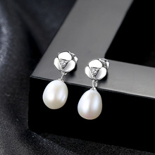 YUEYIN 925 Sterling Silver Earrings 7-8mm Pearl 2019 Studs Aretes De Mujer Modernos  Christmas Gifts for Women Gothic