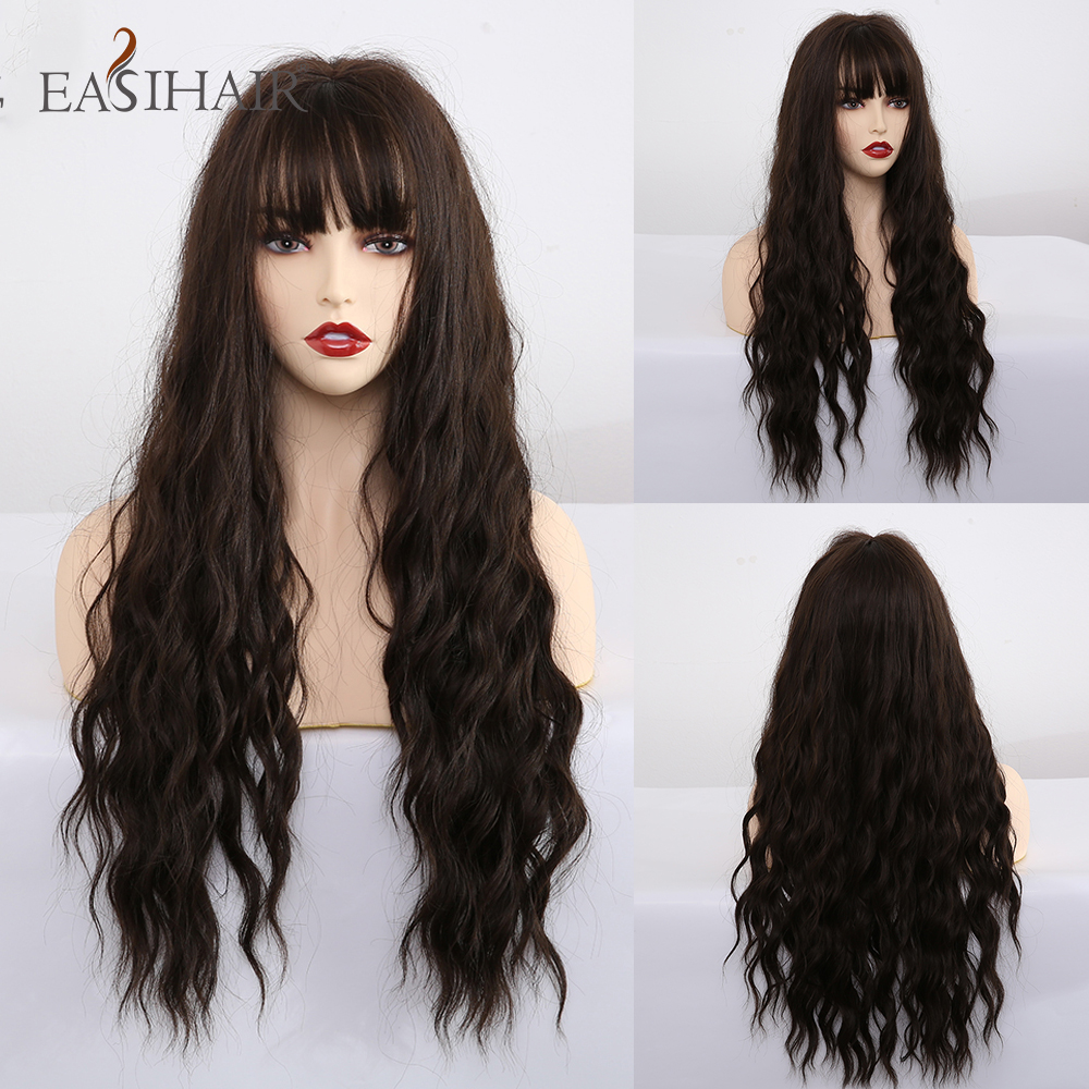 EASIHAIR Long Dark Brown Synthetic Wigs For Women Water Wave Cosplay Wigs With Bangs Heat Resistant Pink Fake Hair Natural Wigs