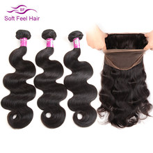 Soft Feel Hair Remy Peruvian Body Wave 2/3 Bundles With Frontal Closure Pre Plucked Human Hair 360 Lace Frontal With Bundle 4Pcs(China)