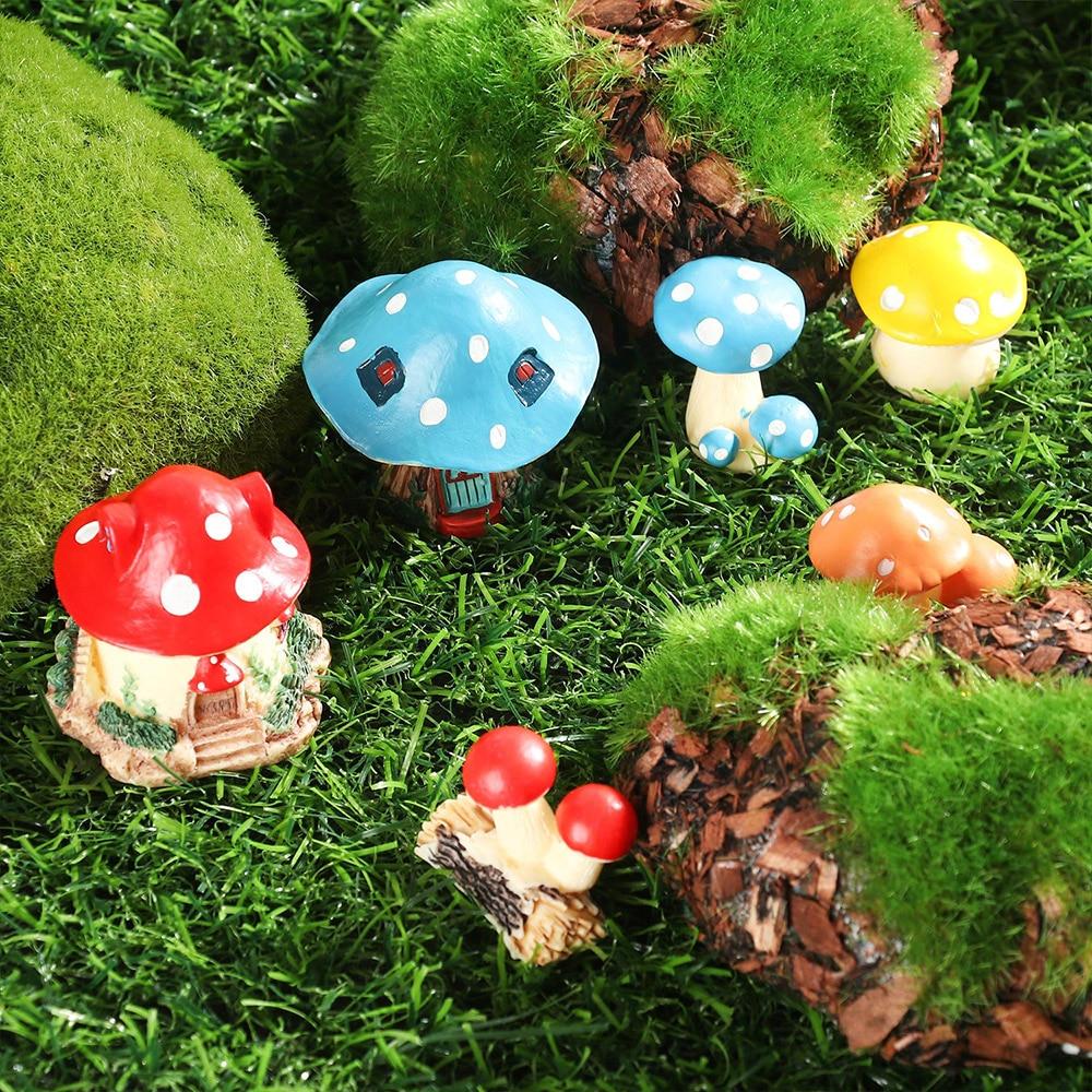 10Pcs MIni Miniature Moss Flower Fairy Garden Micro Landscape Resin Decor Craft