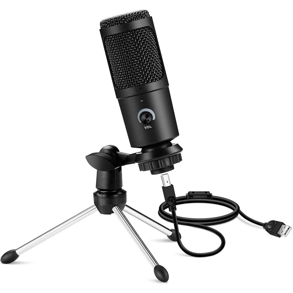 Профессиональный конденсаторный USB-микрофон, микрофон для компьютера, ноутбука, студийной записи, пения, игр, потокового воспроизведения