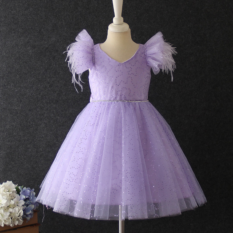 Flower Girl Princess Wedding Party Bridesmaid Sequin Dress Baby Girl Christmas Party Birthday Party Eucharist Sequin Dress