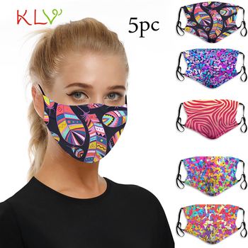 5PCS Face Mask Anti Dust Breathable Print Men Women Mouth Nose Protection Adult Masks Washable Reusable Dustproof Outdoor Masker