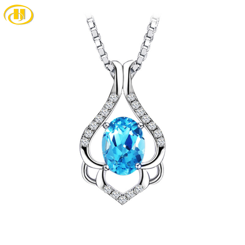 Hutang 925 Sterling Silver Jewelry Water Drop Pendant Blue Stone CZ Engagement Wedding Necklace For Party Accessories