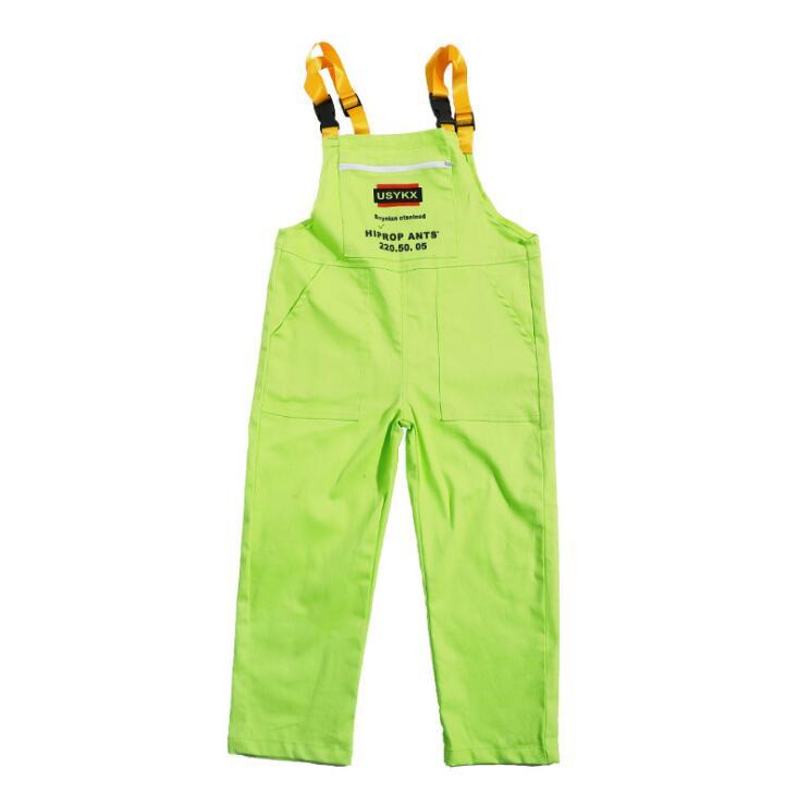 Детская одежда в стиле хип-хоп зеленая Повседневная Толстовка, топы, свободные штаны на лямках для девочек и мальчиков, джазовые танцевальные костюмы бальные танцы, Одежда для танцев - Цвет: Pants