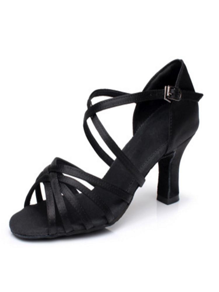 Latin-Dance-Shoe Ballroom-Dance-Sandals Satin-Salsa Tango High-Heel Women Soft Girls