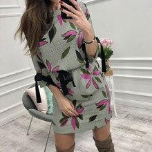 2019 Autumn Women Casual Printed Mini Dress Women Bow O-neck