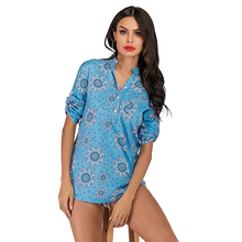 fashion floral print blue blouse shirt women sexy Single breasted top stand collar long sleeve office lady vintage blouse casual