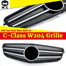 купить For MercedesMB w204 grille grill Two fin ABS Gloss Black C class C180 C200 C250 C350 C63 look Front grills without Sign 2007-14 по цене 3248.9 рублей