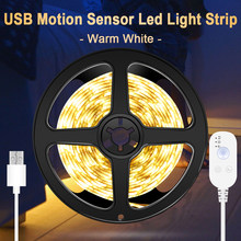 WENNI-tira de luces LED impermeable con Sensor de movimiento, cinta de luz de 5V para debajo del armario, lámpara LED PIR, decoración de lámpara de armario