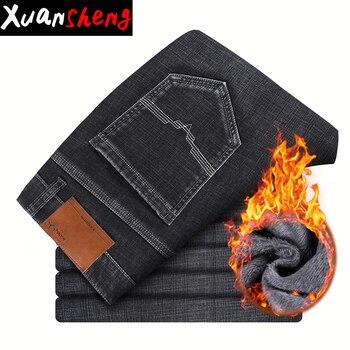44 46 tamaño 2019 pantalones vaqueros de invierno de lana de los hombres clásico negro gris pierna ancha recta caliente de felpa pantalones de alta cintura streetwear jeans