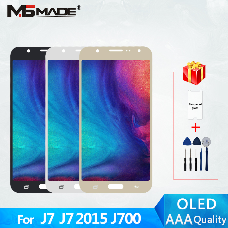 J7 2015 Super AMOLED Für <font><b>Samsung</b></font> <font><b>Galaxy</b></font> J7 2015 J700 J700F <font><b>J700H</b></font> <font><b>LCD</b></font> Touch Screen Digitizer Display Montage Teile Freies verschiffen image