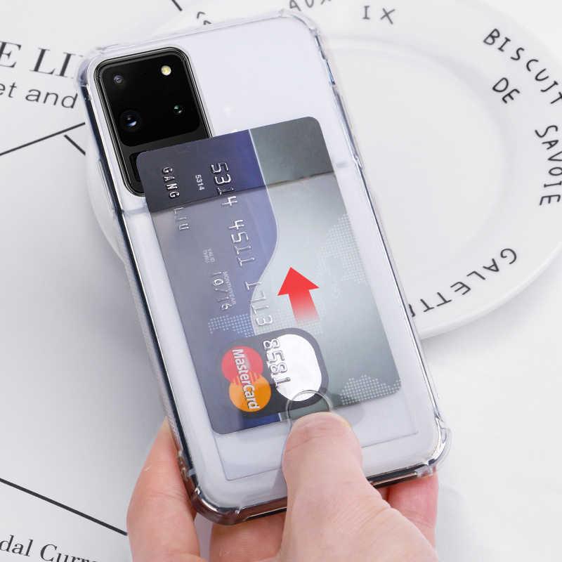 Mode porte-carte de crédit étui Transparent pour Samsung Galaxy S20 Ultra Note20 10 S10 S9 Plus A51 A71 A50 A70 A40 A30