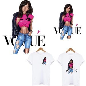 Vogue Lady Patches Heat Transfers Diy T-shirt Jacket Hoodies Fashion Girl Iron On Patches for Clothes Thermal Transfers Sticker(China)
