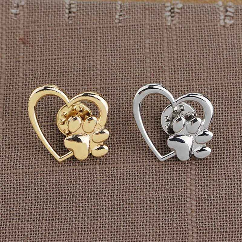 Dog Paw Print With Love Shape Pins Cute Dog Costume Brooch Accessories Hats Cat Paw Cat Paw Personalized Pin