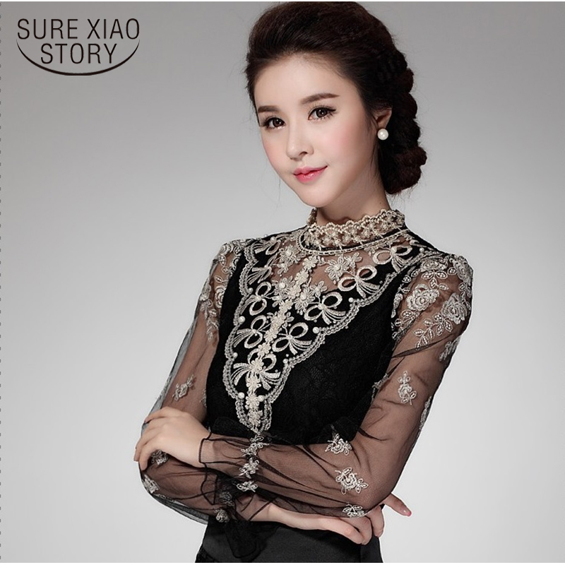 New 2019 Womens Tops And Blouses Long Sleeve Shirts Vintage Women Blouses Chiffon Femme Women Lace Tops Blusas Femininas 980F25
