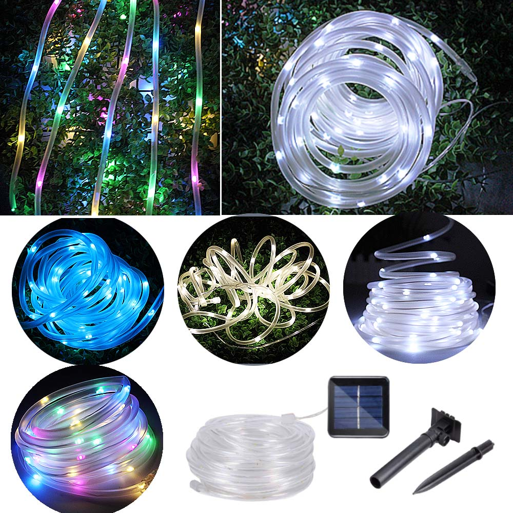 Image 2 - 12m 100 Led Solar Garden Light Outdoor Rope Tube String Lights 50 Led Strip Solar Power Lamp Waterproof Wedding Xmas Fairy Decor-in Solar Lamps from Lights & Lighting
